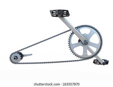 Bicycle chain with pedals front view isolated on white background. 3d render image.