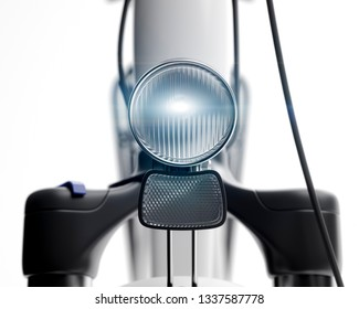Bicycle lamp glowing close up 3d illustration