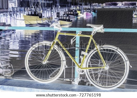 Bicycle Locked Railing Near Lobster Boats Stock Illustration