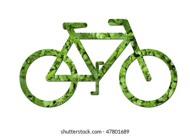 A bicycle made out of green leaves to symbolize ecological or environmental issues.