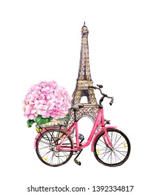Фотообои Bicycle with pink hydrangea flowers in basket and Eiffel tower in Paris, France. Watercolor