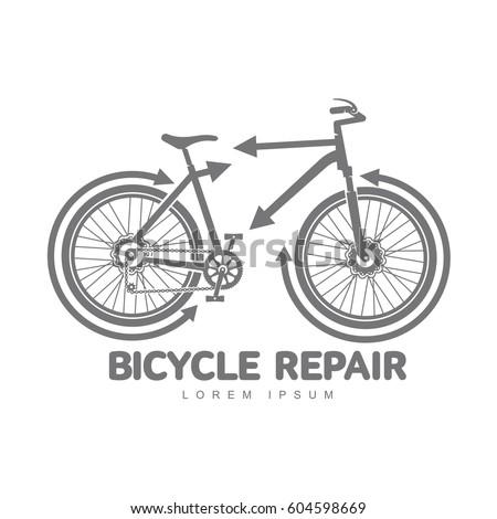bicycle repair workshop logo template your stock illustration