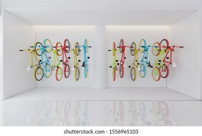 Bicycle wall hanging in colorful alternate patterns .3d rendering,illustration