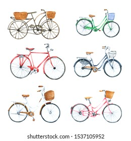 Bicycle watercolor isolated on white background. Hand drawn painted for design