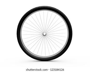 Bicycle wheel, isolated on white background.