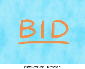 bid word on watercolor texture background