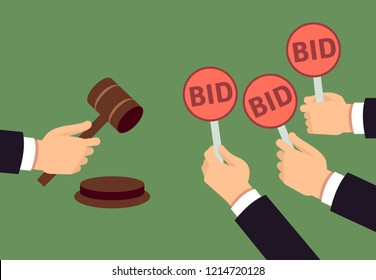 Bidders human arms holding bid paddle and auctioneer hand with gavel. Auction bidding and justice concept