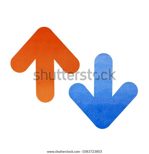Bidirectional Arrow Down Symbol Watercolor Red Stock Illustration 1083723803