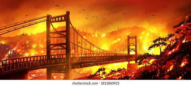 Bidwell Bar Bridge is on fire and mountain forests are burning. California wildfire. The Dangers of California Wildfires.