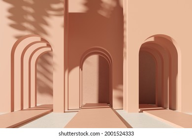 Biege pink background with shadow on the wall. Arc, Showcase, empty space for ad text on pastel light background. Promotion premium organic eco product -3D render. Meditation relaxation spa poster