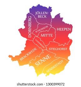 Bielefeld City Map Germany DE labelled rainbow colored illustration
