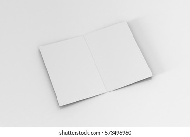 Bi-Fold A5 Brochure / Leaflet Mock-up, 3D Illustration on Isolated White Background.