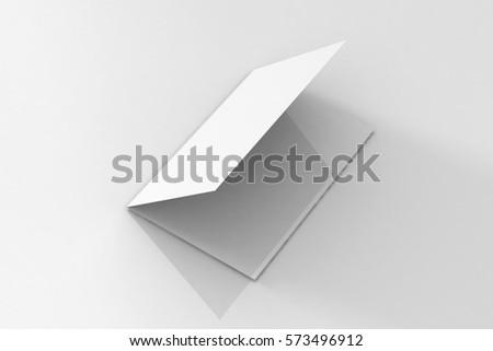 bi fold a 5 brochure leaflet mockup 3 d stock illustration 573496912