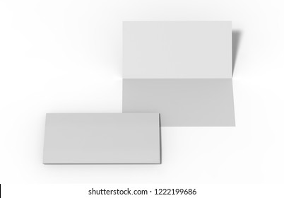 Bi-fold dl horizontal brochure, mock up template on isolated white background, ready for design presentation, 3d illustration