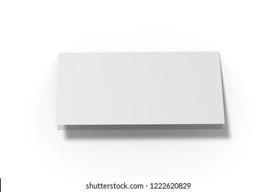 Bi-fold dl horizontal brochure, mock up template on isolated white background, ready for design presentation, 3d illustration