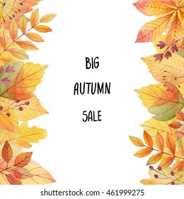 Big autumn sale. Watercolor illustration with colored leaves and hand lettering on a white background. Ideal for design banners, leaflets, posters with space for your text.