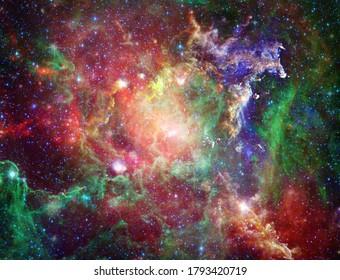 Big Babies in the Rosette Nebula. Vivid space. 3D rendering