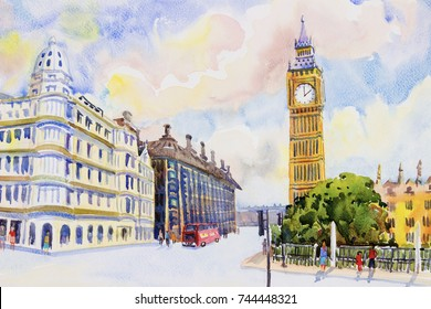 Big Ben Clock Tower, street view in London Red Bus traditional old at England. Watercolor painting colorful illustration landscape and sky background. modern business city. Landmark of the world.