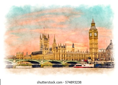 Big Ben, Houses of parliament and westminster bridge with thames river in London, UK at sunset time - landscape watercolor painting
