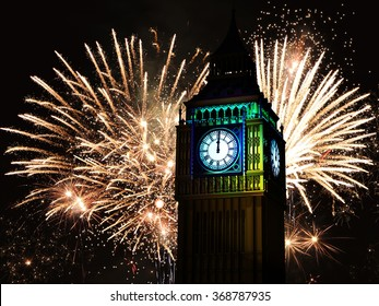 Big Ben, the iconic London's tower clock, with explosive fireworks display in the background. 3D illustration