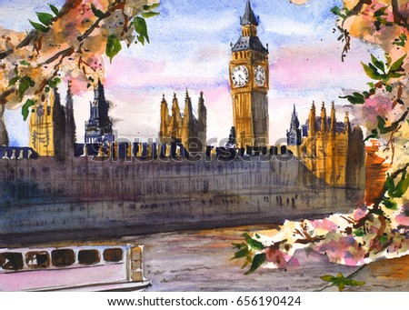 big ben london watercolor illustration stock illustration 656190424
