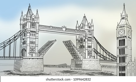 Big Ben tower and tower bridge sketch. Wallpapers for walls. Sliding bridge and clock tower. 3D illustration.