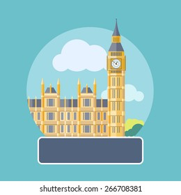 Big Ben and Westminster Bridge, London, UK. Poster concept in cartoon style with text. Raster version