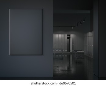 Big black picture frame at the entrance to the locker room. 3d rendering
