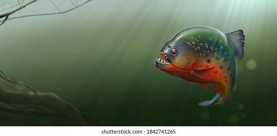Big black piranha at the bottom of the amazon river illustration background realism.