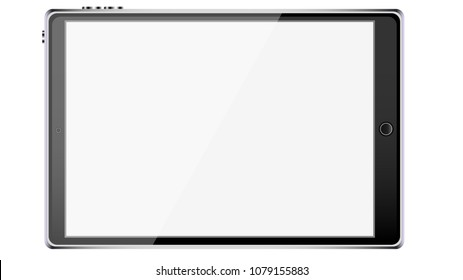 Big black realistic mobile smart touch-sensitive slim tablet computer frame with metal face with glossy blank glowing screen isolated on white background. illustration