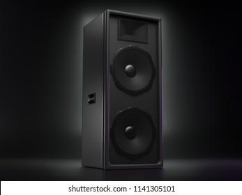 Big black speaker on a reflective background. 3d illustration
