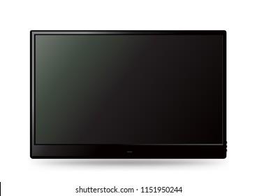 Big black wall TV icon template with shadow on white background. Television LED display screen. Flat media technology eletronic equipment. LCD computer monitor