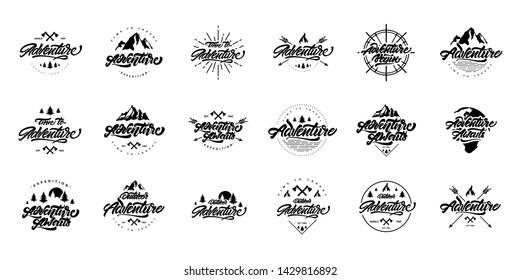 Big black and white Adventure lettering set logos. Vintage labels mountains, bonfires and arrows.