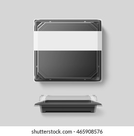 Big blank plastic disposable food container mockup, transparent lid, isolated, clipping path, 3d illustration. Sushi empty to go bento delivery box mock up. Meal lunch take away clear tray template.