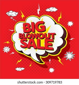 Big blowout sale pop up cartoon banner vector illustration