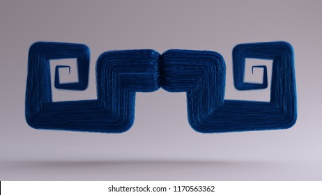 Big Blue Bushy Mustache 3d illustration 3d render