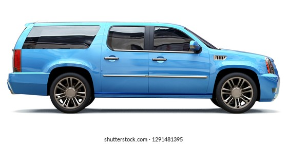 Big blue premium SUV on a white background. 3d rendering.