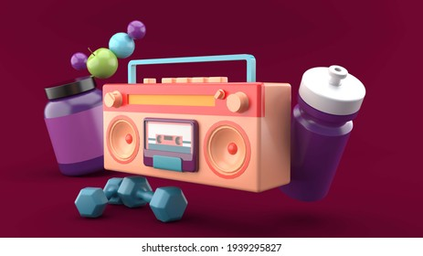 Big Boom Box radio is surrounded by exercise water bottles, dumbbells, whey protein, apples and balls on a purple background.-3d rendering.