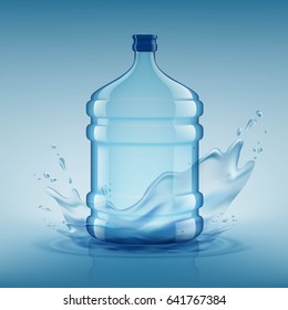 Big bottle with clean water. Plastic container for the cooler. Stock illustration.