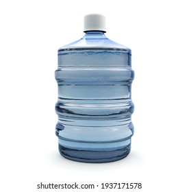 Big bottle of water isolated on white background. 3D render. Usual 20 liter plastic water gallon in Brazil.