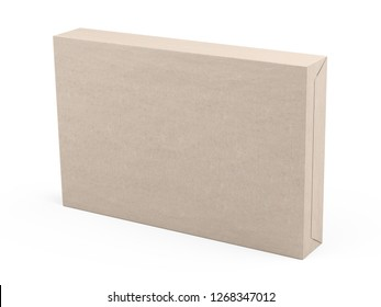 Big box wrapped in recycled paper. Parcel or gift. 3d illustration isolated on a white background.