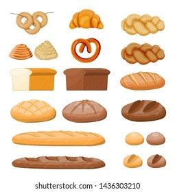 Big bread icons set. Whole grain, wheat and rye bread, toast, pretzel, ciabatta, croissant, bagel, french baguette, cinnamon bun. illustration in flat style