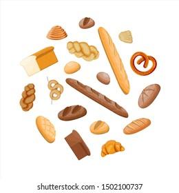 Big bread icons set. Whole grain, wheat and rye bread, toast, pretzel, ciabatta, croissant, bagel, french baguette, cinnamon bun. illustration in flat style