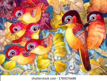 The big brethren of colorful birds family in the forest.Hand made watercolor illustration for greeting card,background,pattern,animals images,birds cartoon illustration,nature poster,decoration.