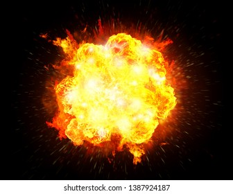 Big bright fiery explosion isolated in a black background. 3D rendering