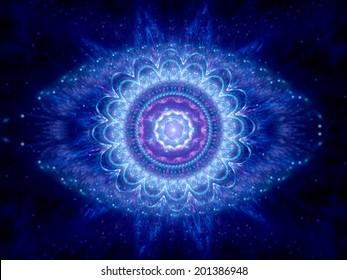Big brother eye in cyberspace, blue magic mandala in space