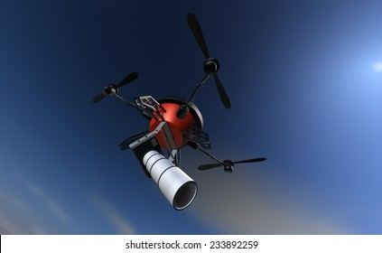 Big brother is watching you - espionage drone sees everything with the zoom lens on the camera
