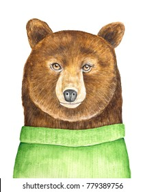 Big brown bear character portrait. Dressed in green knitted sweater, looking at camera. Hand painted watercolour illustration, isolated on white background. Poster, print, holiday, postcard design.