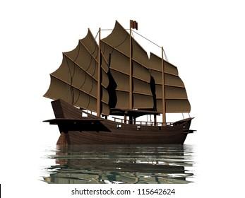 Big brown oriental junk floating on water in white background