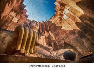 Big buddha wat sri chum in Sukhothai historical park of Thailand made by oil paint effect